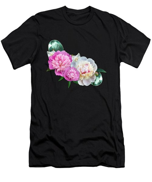 Peonies In Pink And Blue Men's T-Shirt (Athletic Fit)
