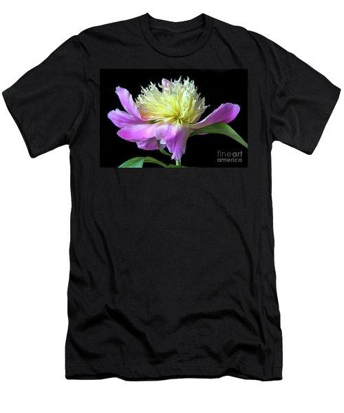 Peony On Black Men's T-Shirt (Athletic Fit)
