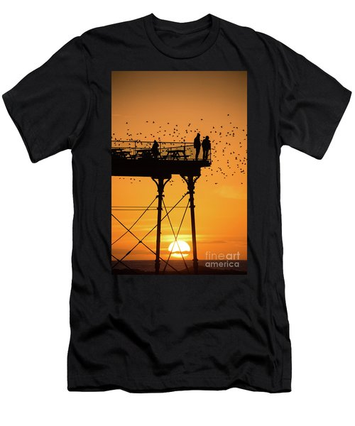 People On The Pier Sunset And Starlings In Aberystwyth Wales Men's T-Shirt (Athletic Fit)