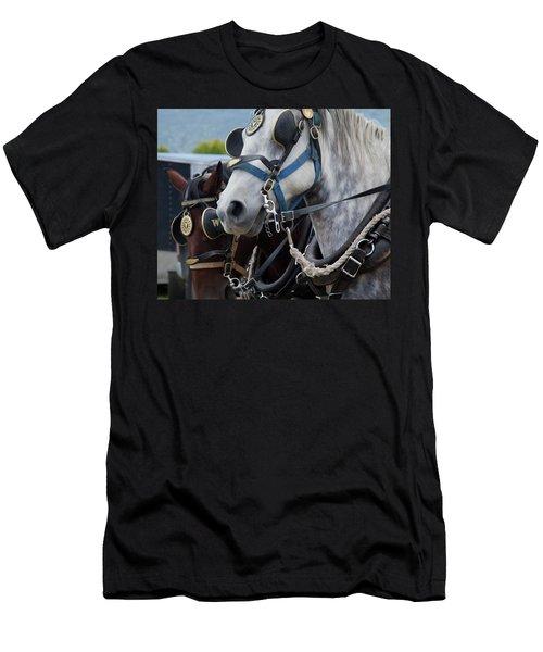 Men's T-Shirt (Slim Fit) featuring the photograph Percheron Horses by Theresa Tahara