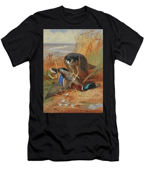Peregrine Falcon And Mallard Duck On A Sandbank Men's T-Shirt (Athletic Fit)