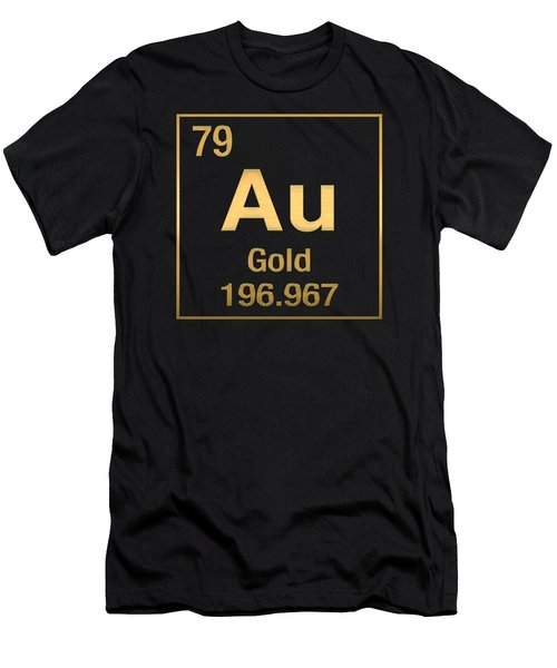 Periodic Table Of Elements - Gold - Au - Gold On Black Men's T-Shirt (Slim Fit) by Serge Averbukh