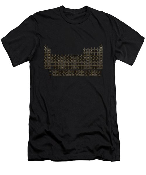 Periodic Table Of Elements - Gold On Black Metal Men's T-Shirt (Athletic Fit)