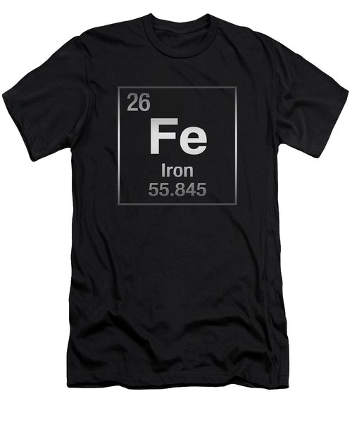 Periodic Table Of Elements - Iron - Fe On Black Canvas Men's T-Shirt (Athletic Fit)