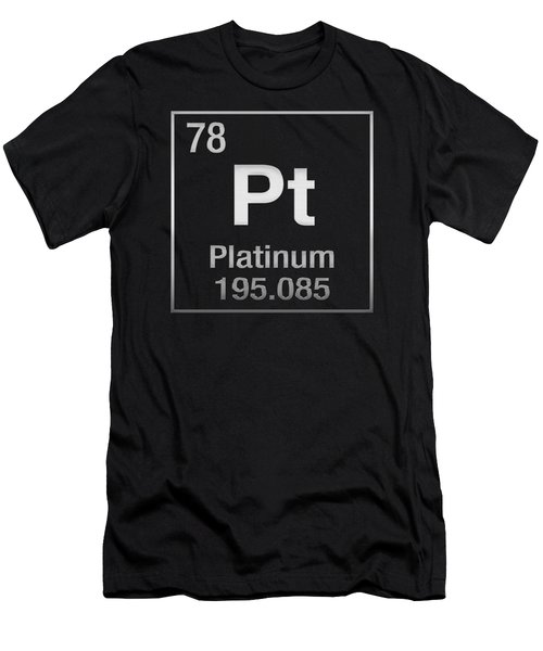 Periodic Table Of Elements - Platinum - Pt - Platinum On Black Men's T-Shirt (Athletic Fit)