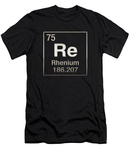 Periodic Table Of Elements - Rhenium - Re - On Black Men's T-Shirt (Athletic Fit)