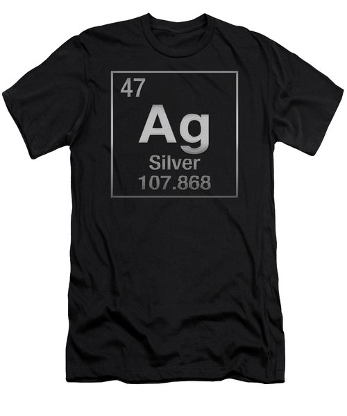 Periodic Table Of Elements - Silver - Ag - Silver On Black Men's T-Shirt (Athletic Fit)