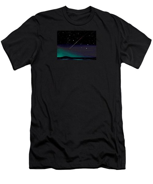 Men's T-Shirt (Slim Fit) featuring the digital art Perseid Meteor Shower  by Jean Pacheco Ravinski