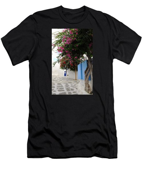 Men's T-Shirt (Slim Fit) featuring the photograph Perspective Blue Door by Haleh Mahbod