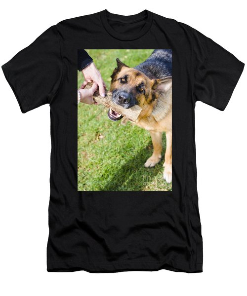 Pet Dog In Park Playing Tug Of War Game With Owner Men's T-Shirt (Athletic Fit)