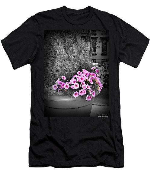 Men's T-Shirt (Athletic Fit) featuring the photograph Petunias In Brooklyn Circa 2006 by Iowan Stone-Flowers