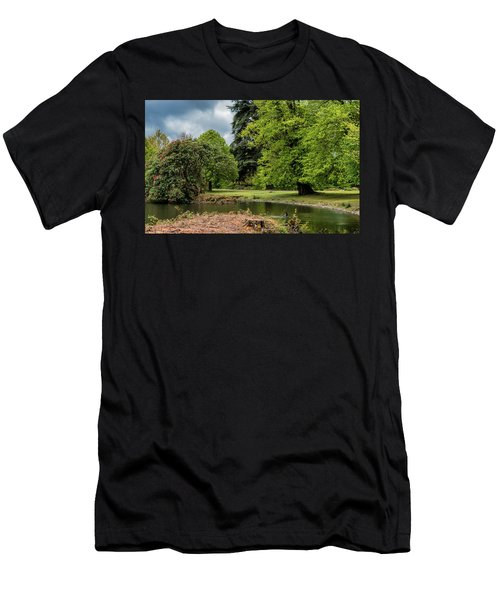 Men's T-Shirt (Athletic Fit) featuring the photograph Petworth Lake With Dog by Michael Hope