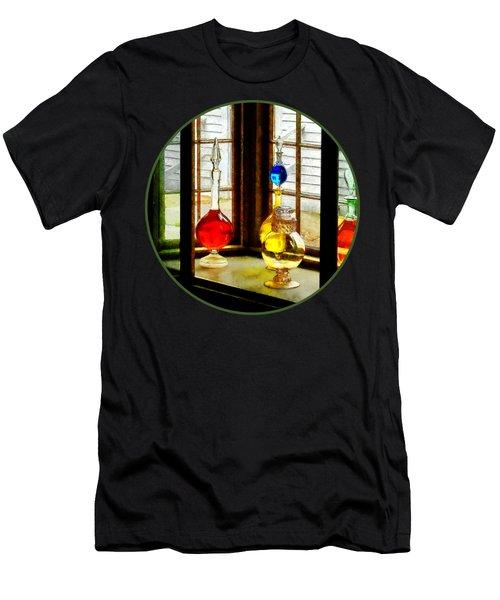 Pharmacist - Colorful Bottles In Drug Store Window Men's T-Shirt (Slim Fit) by Susan Savad