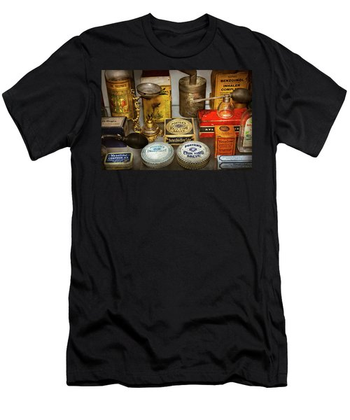 Men's T-Shirt (Slim Fit) featuring the photograph Pharmacy - The Pain King by Mike Savad