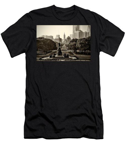 Philadelphia Benjamin Franklin Parkway In Sepia Men's T-Shirt (Athletic Fit)