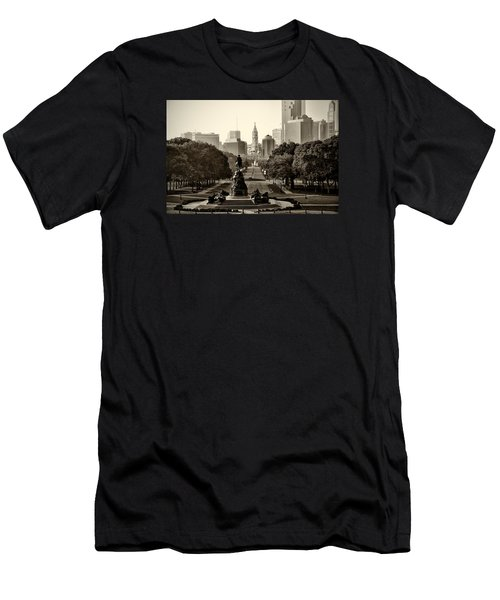 Philadelphia Benjamin Franklin Parkway In Sepia Men's T-Shirt (Athletic Fit)