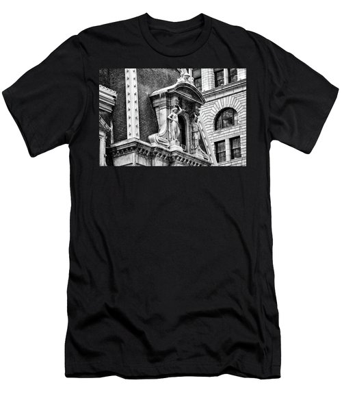 Men's T-Shirt (Athletic Fit) featuring the photograph Philadelphia City Hall Window In Black And White by Bill Cannon