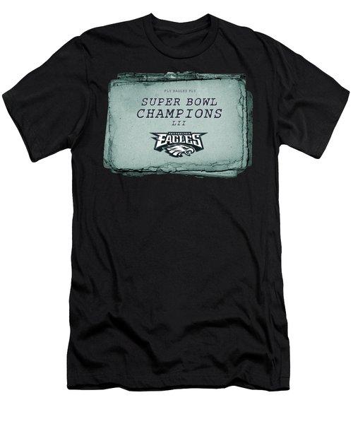 Philadelphia Eagles Super Bowl Champions  L I I  Playbook With Transparent Background Men's T-Shirt (Athletic Fit)