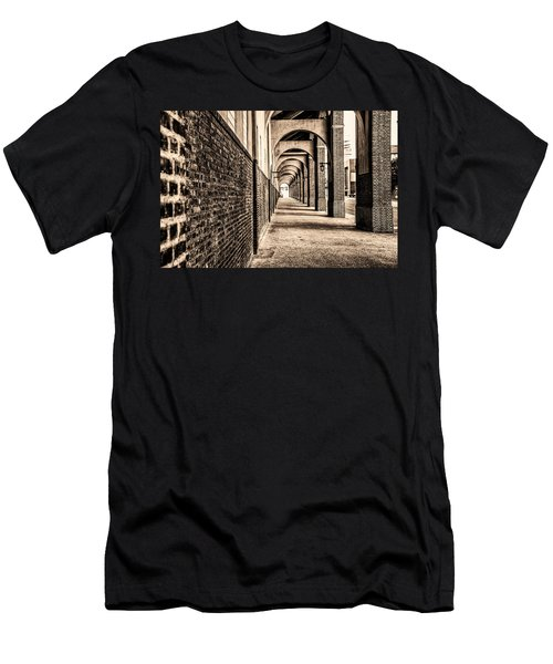 Men's T-Shirt (Athletic Fit) featuring the photograph Philadelphia - Franklin Field Archway In Sepia by Bill Cannon