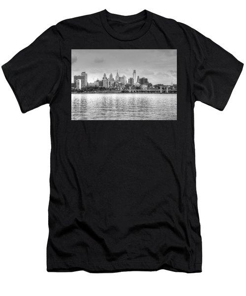 Philadelphia Skyline In Black And White Men's T-Shirt (Athletic Fit)