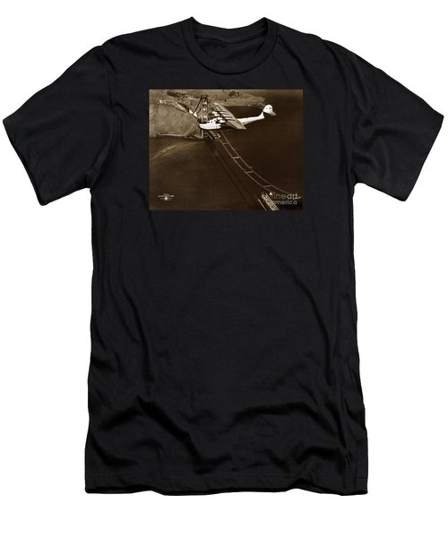 Philippine Clipper A Pan Am Clipper Over The Golden Gate Bridge  1935 Men's T-Shirt (Slim Fit) by California Views Mr Pat Hathaway Archives