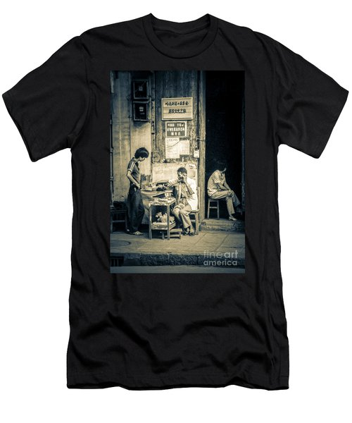 Men's T-Shirt (Slim Fit) featuring the photograph Phonecall On Chinese Street by Heiko Koehrer-Wagner