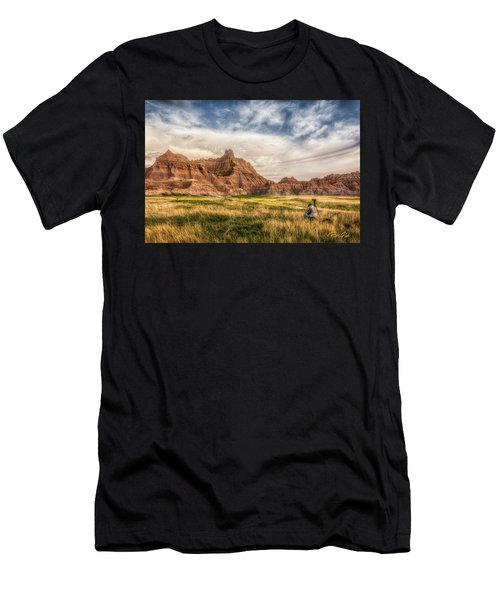 Men's T-Shirt (Athletic Fit) featuring the photograph Photographer Waiting For The Badlands Light by Rikk Flohr