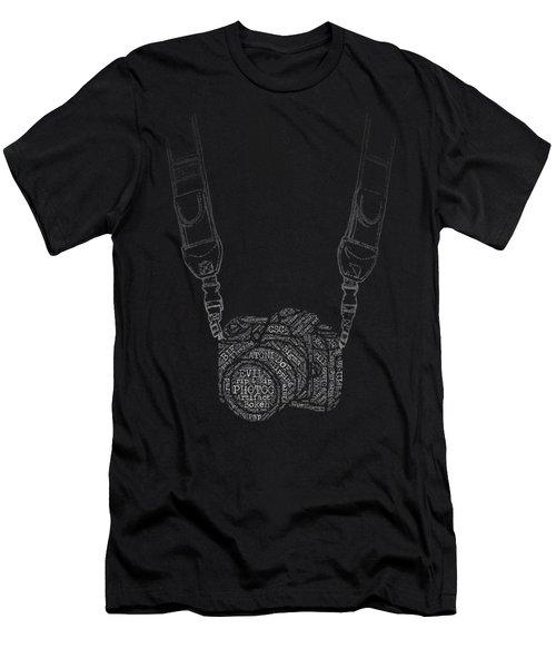 Photography Slang Word Cloud Camera Men's T-Shirt (Slim Fit) by Felikss Veilands