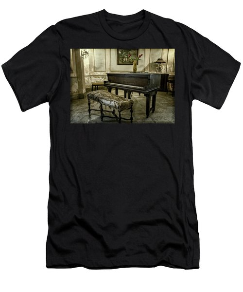 Men's T-Shirt (Slim Fit) featuring the photograph Piano At Josie's House by Joan Carroll