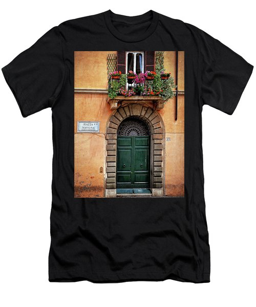 Men's T-Shirt (Slim Fit) featuring the photograph Piazza Navona House by Marion McCristall