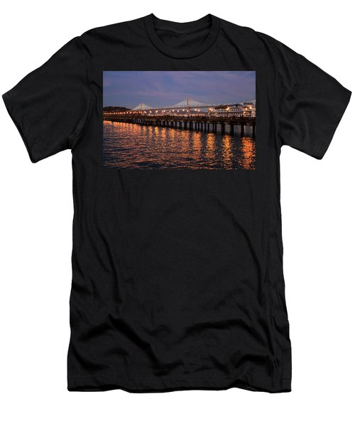 Pier 7 And Bay Bridge Lights At Sunset Men's T-Shirt (Athletic Fit)