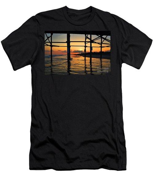 Oak Island Pier Sunset Men's T-Shirt (Athletic Fit)