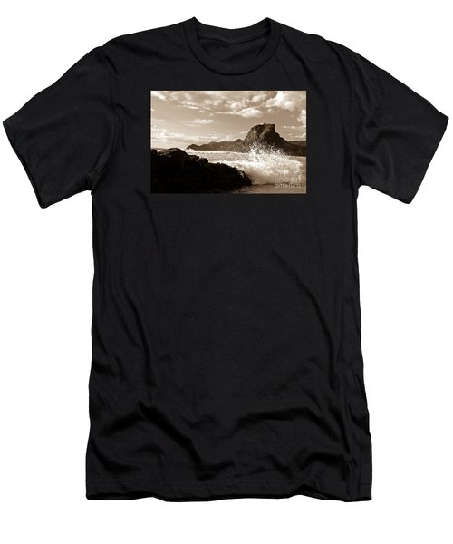 Men's T-Shirt (Slim Fit) featuring the painting Piha New Zealand Waves by Yurix Sardinelly