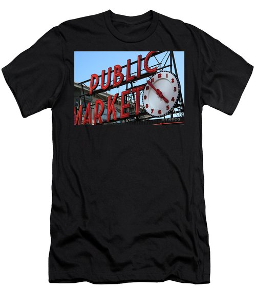 Men's T-Shirt (Athletic Fit) featuring the photograph Pike Street Market Clock by Peter Simmons