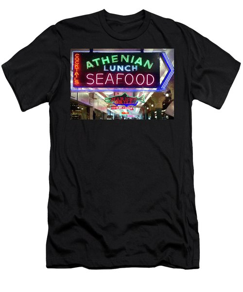Pike Street Market Neon, Seattle Men's T-Shirt (Athletic Fit)