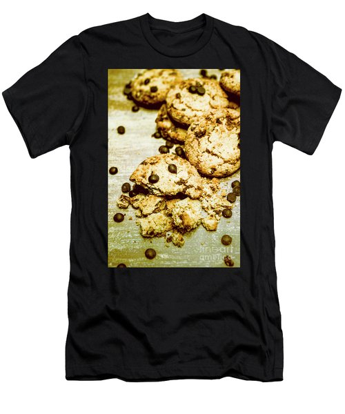 Pile Of Crumbled Chocolate Chip Cookies On Table Men's T-Shirt (Athletic Fit)