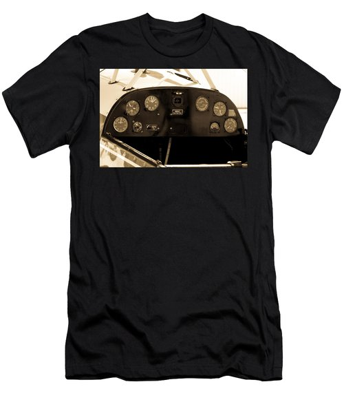 Men's T-Shirt (Athletic Fit) featuring the photograph Pilots Cockpit by Fran Riley