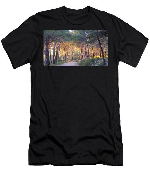 Men's T-Shirt (Athletic Fit) featuring the photograph Pine Forest At Sunset by August Timmermans