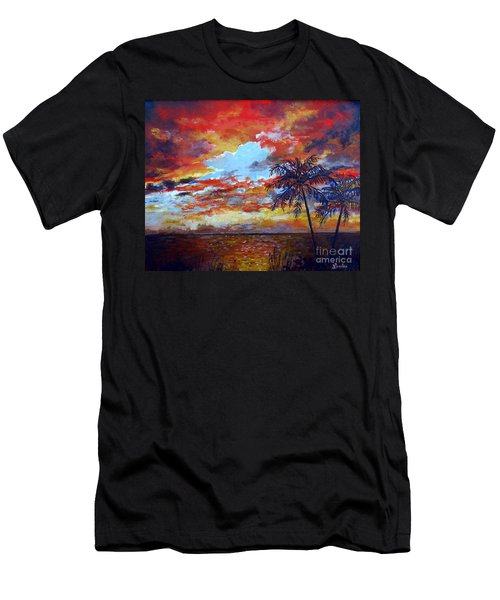 Men's T-Shirt (Slim Fit) featuring the painting Pine Island Sunset by Lou Ann Bagnall