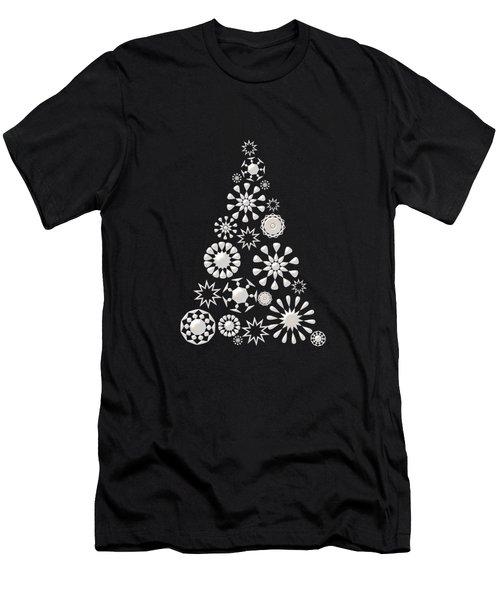 Pine Tree Snowflakes - Baby Blue Men's T-Shirt (Athletic Fit)