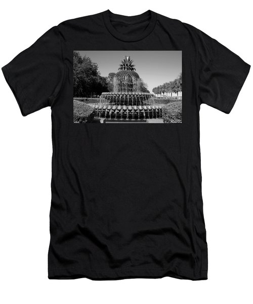 Pineapple Fountain Charleston Sc Black And White Men's T-Shirt (Athletic Fit)
