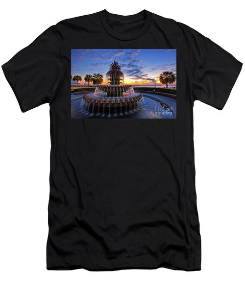 The Pineapple Fountain At Sunrise In Charleston, South Carolina, Usa Men's T-Shirt (Slim Fit) by Sam Antonio Photography
