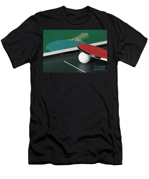 Ping Pong Paddles On Table With Net Men's T-Shirt (Athletic Fit)