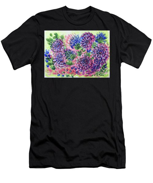 Pink And Blue Flower Flurry Men's T-Shirt (Athletic Fit)