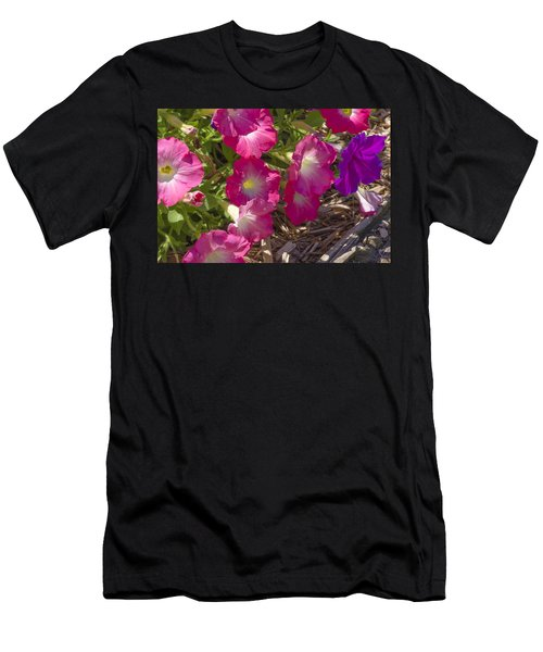 Pink And Purple Petunias Men's T-Shirt (Athletic Fit)