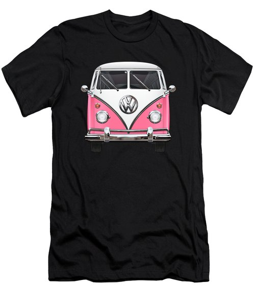 Pink And White Volkswagen T 1 Samba Bus On Yellow Men's T-Shirt (Athletic Fit)