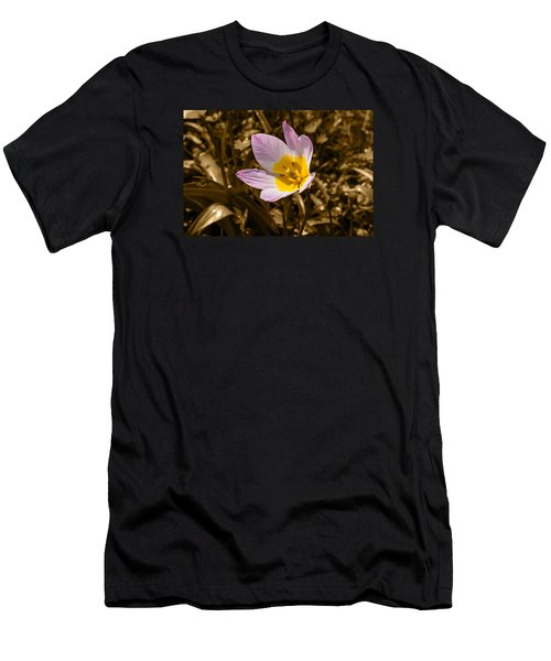Pink And Yellow Tulip On Sepia Background Men's T-Shirt (Athletic Fit)