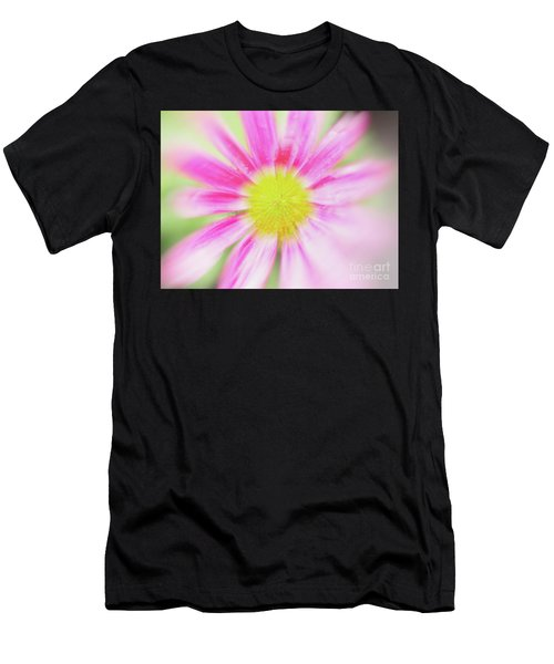 Men's T-Shirt (Athletic Fit) featuring the photograph Pink Aster Flower With Raindrops Abstract by Nick Biemans