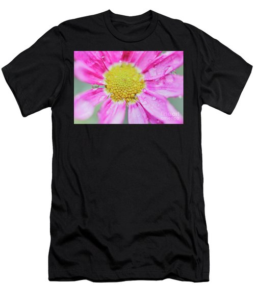 Men's T-Shirt (Athletic Fit) featuring the photograph Pink Aster Flower With Raindrops by Nick Biemans