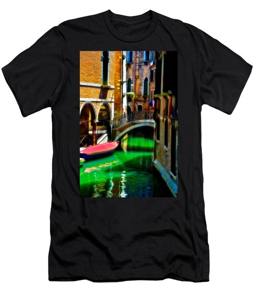 Pink Boat And Canal Men's T-Shirt (Slim Fit) by Harry Spitz